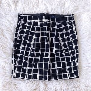 Gap Black White Windowpane Mini Skirt